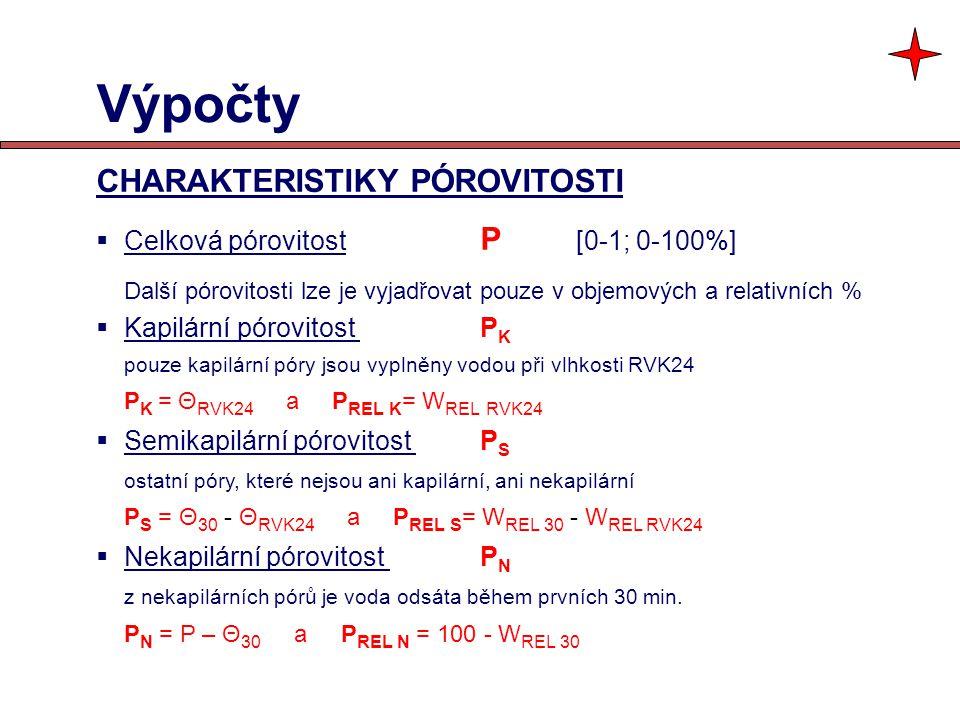 Výpočty CHARAKTERISTIKY PÓROVITOSTI Celková pórovitost P [0-1; 0-100%]